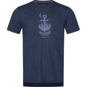 super.natural Graphic T-shirt Heren, blue iris melange/skyway adventure awaits